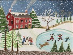 Old-Fashioned Winter Scenes | ... ,Skaters, Snowmen, Snowy Sky, Pine Trees - A New England Winter Scene