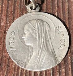 """Vintage Virgo Sancta Saint Virgin Mother Mary Silver Religious Medal Pendant on 18"""" sterling silver rolo chain"""