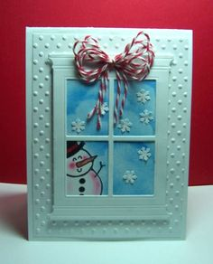 CAS147 Snowman In Window by jandjccc - Cards and Paper Crafts at Splitcoaststampers