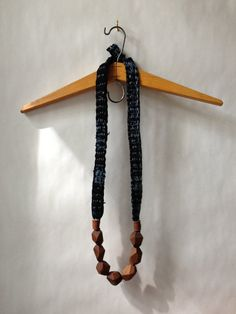 idea - wood and denim necklace
