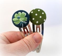 Large Hair Clips Green and Blue Polka Dots and Flowers Hair Accessories for Teens Fabric Button Snap Clips Hair Barrette Set Gift Set by foreverandrea on Etsy
