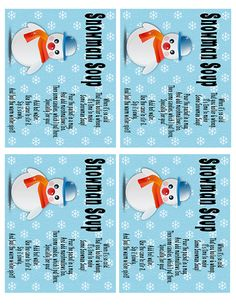 ... on Pinterest   Snowman Soup, Free Printable and Free Printables