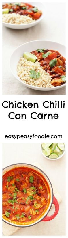 An easy peasy twist on a classic, this Chicken Chilli Con Carne is easy, healthy and totally delicious – plus it can be made in under 30 minutes – perfect for busy weeknights! Midweek Meals, Healthy Comfort Food, Yum Yum Chicken, Chicken Recipes, Healthy Recipes, Savoury Recipes, Savoury Dishes, Healthy Meals, Healthy Food