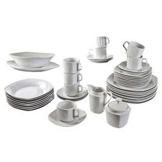 Perfect for a new apartment or dinnerware update, this set of crisp white plates, cups, and serveware makes a classic anchor for colorful linens and crystal ...