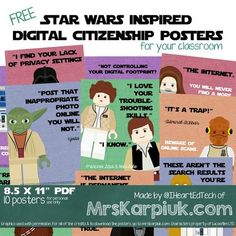 Free Star Wars inspired Digital Citizenship posters. These are amazing!