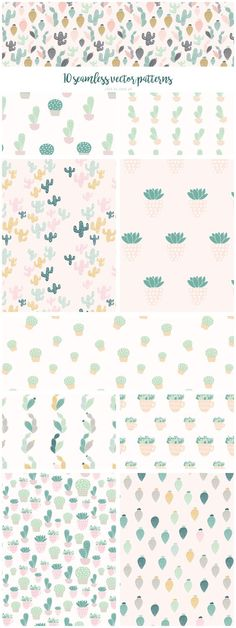 A collection of 10 cute and colorful seamless hand drawn patterns with cacti and succulent plants. You can use them for scrapbooking, on your illustrations or other prints, on textiles, or even for your website's graphics. You will receive: 10 high-resolution digital papers (JPEG file at 300 dpi) 10 EPS10 files 10 PNG files 1 AI swatch Bonus: 9 cacti and succulent plants clip art in PNG and EPS file format. #ad