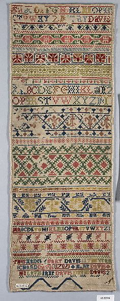 English Sampler ~ Mary Davis ~ 1709 ~ Silk and wool on canvas ~ Metropolitan Museum of Art
