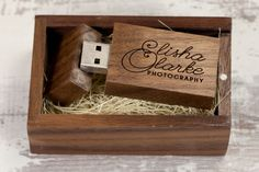 Our ever popular Dark Wood Gift Boxes and Dark Wood USB memory sticks - topped off with eco friendly coconut fibre filling. The engraving quality to the USB sticks and the box lid is fantastic #USB #engraved