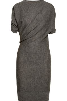 Lanvin | Draped alpaca and wool-blend dress...