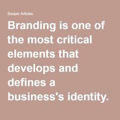 Branding is one of the most critical elements that develops and defines a business's identity.