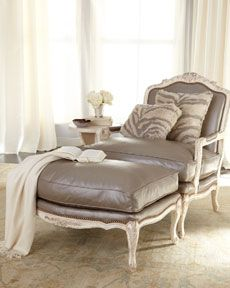 Silver Leather Chair and Ottoman