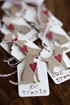 Dog Treat Valentine's Day tags | gift tags | dog craft