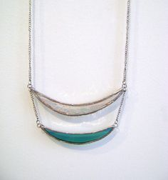 Double Crescent Stained Glass necklace - ThingsTogether $42