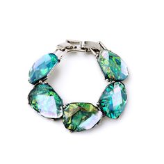 Masquerade Charming Jewelry Handmade Statement Trendy Big Gem Bracelet Silver Color Chunky Jewelry Feminine