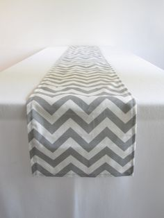 Gray and White Chevron Table Runner  11 x 117 in by Ultrapom, $30.00