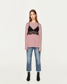 LACE CROP TOP-View All-T-SHIRTS-WOMAN   ZARA United States
