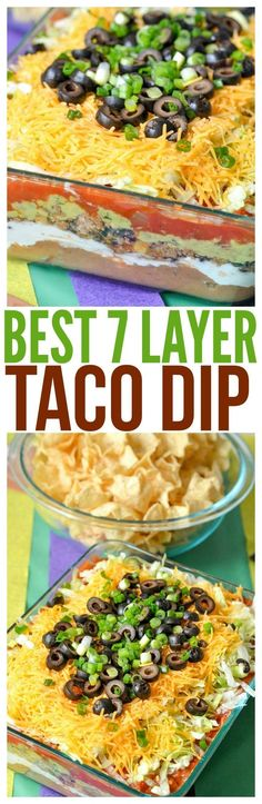 7 layer taco layer dip with meat ground beef mexican easy recipe game day party plan dessert cups mini ideas candy bars skittles popcorn  via @CourtneysSweets