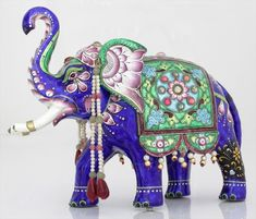Embellished Asian Elephant Antique Figurine Enamel Silver Collectible Home Decor | eBay