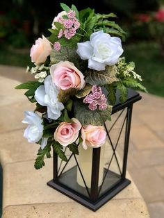 Discover thousands of images about Wedding Reception Lantern Decor Pew Flowers Floral Swags Lantern Centerpieces, Wedding Table Centerpieces, Floral Centerpieces, Reception Decorations, Floral Arrangements, Centerpiece Ideas, Diy Birdcage Flower Arrangement, Reception Ideas, Anniversary Party Centerpieces