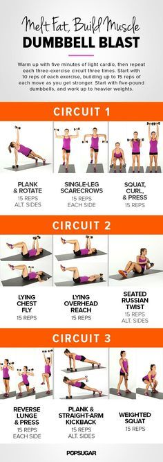 Melt fat and build muscle with our dumbbell blast circuit workout! You can easily make these more challenging and effective with heavier weights.