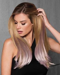 """Poshly pastel or stunning steel add the ultimate hair enhancement! Soft metallic colors create the perfect amount of pop with the Color Extension Kits by Hairdo. These custom colored 23"""" long pieces will showcase your unique style and add length with fashion forward color. Place the pieces around the top layer of your hair or create a different effect by customizing the placement.  The Tru2Life® heat-friendly synthetic hair can be styled to match your hairstyle and mood."""