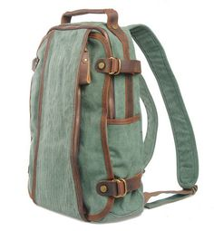 BACKPACK Genuine Cow Leather Men's leather bag canvas por MUSE2013, $49.99