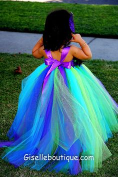 Peacock Feather TuTu Dress  Halloween Wedding by giselleboutique, $80.00