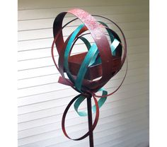 Sculptural Steel & Copper Bird Feeder 275 with turquoise patina