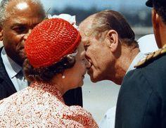 Rare photo of Prince Philip kissing Queen Elizabeth II