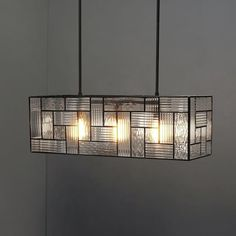 Industrial Mixed Glass Pendant, Rectangle, Mixed Glass/Antique Bronze