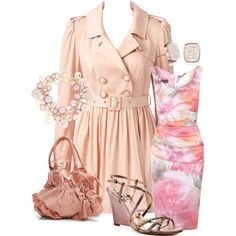 Designer Clothes, Shoes & Bags for Women Style And Grace, My Style, Dress Outfits, Fashion Outfits, Dresses, Pink Trench Coat, Pink Roses, Bling, Passion