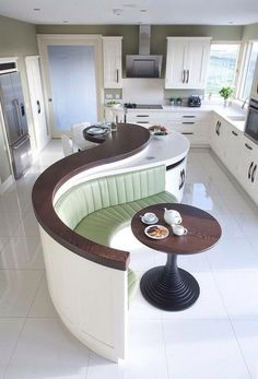 This is a very unique lovely kitchen design. Different from the norm and cool! #Kitcheninteriordesign