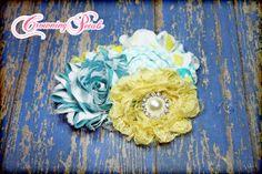 Yellow Turquoise Headband Aqua White Fabric by CrowningPetals, $15.00