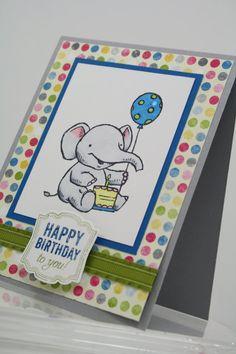 Happy Birthday Elephant Handmade Card - Stampin' Up - Ellie the Elephant - 1st Birthday - 2nd Birthday - Boy Birthday on Etsy, $3.75