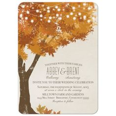 Fall Wedding Invitations - Oak Tree Falling Leaves and Lights… perfect for an autumn wedding.