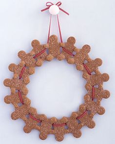 """See the """"Gingerbread-Man Wreath"""" in our Kids' Christmas Crafts gallery by Martha Stewart Christmas Gingerbread, Noel Christmas, Christmas Crafts For Kids, All Things Christmas, Winter Christmas, Holiday Crafts, Holiday Fun, Christmas Decorations, Christmas Ornaments"""