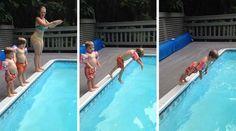Пытаясь подражать своей матери, малец смешно нырнул в бассейн. [Видео]