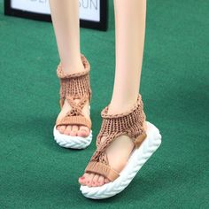 Cheap Middle Heels, Buy Directly from China Suppliers:wedges shoes for women platform sandals 2019 Summer Soft Knit black white breathable zandalias de verano mujer High Heels sandal Women's Shoes, New Shoes, Wedge Shoes, Golf Shoes, Flat Shoes, Dance Shoes, Cute Sandals, Sport Sandals, Women Sandals