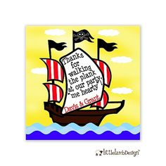 personalized pirate ship sticker for a favor bag by little lamb design