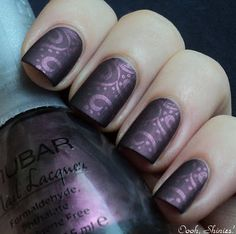 Love this purple matte look! Nubar Prevail stamped with Konad plate m64 and China Glaze Joy