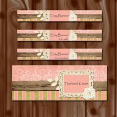 SALE Shabby chic Etsy shop banner Etsy shop set by BebeEvas, $10.00 on sale now!