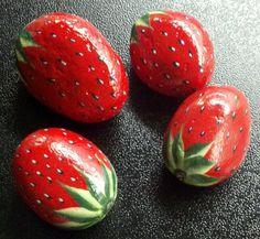 Handpainted Strawberries River Rocks Garden by purpleshammrockshop, $23.00