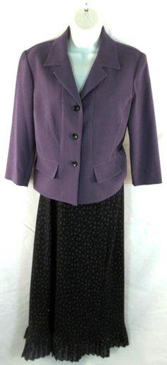 Studio I Skirt Suit Multi-Color Long Sleeve Womens Size 4 #Studio1 #SkirtSuit