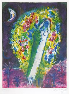 marc chagall lithographs | Signed Marc Chagall Lithograph, Couple in Mimosa, 1967