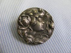 """UNGER BROTHERS 1 ¼"""" Art Nouveau Brooch Sterling Silver Pin Vintage"""