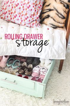 DIY Rolling drawer storage - I'd love to move things like my shoes and off-season clothing out of the closet and under the bed to free up some space in there.