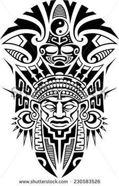 Ancient Tribal Mask Vector illustration #maoritattoossleeve