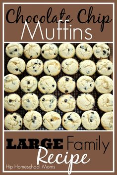 Chocolate Chip Muffins for a large family. I would use berries instead of chocolate but I love that the recipe makes such a large batch.