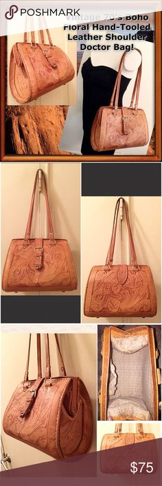 """VTG Boho Floral Hand-Tooled Leather Doctor Bag! Vintage 70's Boho Floral Hand-Tooled Leather Shoulder Doctor Bag! Features:pretty Floral hand tooled design, natural distressed saddle brown leather, top opening & side hinges, dual leather straps, front belt-over snap leather closure & cloth lining. 9 1/2"""" across top, 11"""" across bottom, 8"""" high x 5"""" wide with 12"""" shoulder clearance. Inside cloth pocket needs to be sewn at seam. Some exterior marks w/ natural aging & patina on leather. Cool…"""