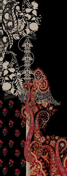 Aztec Print Patterns, Textile Patterns, Textile Prints, Textile Design, Textiles, Paisley Flower, Paisley Art, Islamic Motifs, Flower Art Images